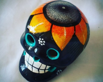 Authentic Mexican Folk Art Skull Head Pottery Ceramic Terra Cotta Skull from Mexico