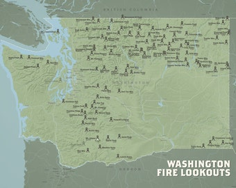 Washington Fire Lookouts Map 18x24 Poster
