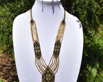 Golden and Black Long Beaded Folk Necklace, Traditional Ukrainian Necklace, Gerdan Seed Bead Necklace, Statement Necklace, Handmade Jewelry