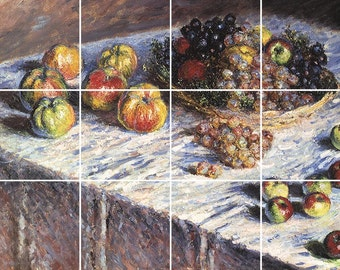 Still Life with Apples and Grapes Tile Mural Painting Back Splash Kitchen Home Decor Art Claude Monet