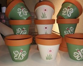 "Hand Painted 5"" Flower Pot (set of 3)"
