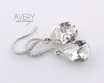 Crystal drop earrings - wedding earrings - Avery earrings