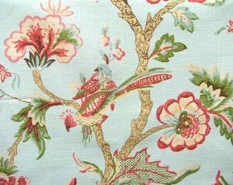 "Thibaut Shrewsbury 25""x26"" Aqua Linen/Cotton Blend Fabric Sample Swatch"