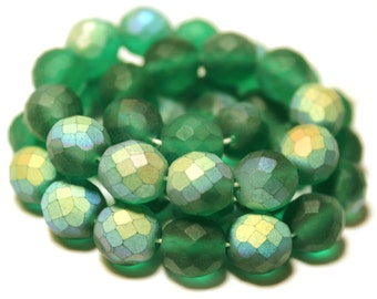 41 Green Beads, Green Glass Beads, AB Green Matte Glass Beads, AB Czech Glass, Round Faceted Glass Beads, AB Green Czech Glass Beads