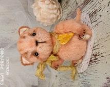 ooak artist teddy Cat , sweet art collectible toy, stuffed baby animal, miniature plushie animal doll kitten