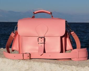 Pink Leather DSLR Camera Bag - Handmade Leather shoulder bag, plus light brown padded insert - MADE to ORDER