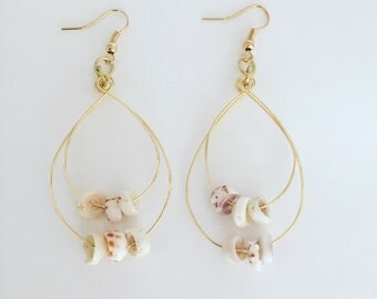 Hawaii Sea Shell Gold Double Hoop Earrings