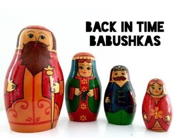 USSR Black Label, Vintage Royal Russian Tsar Nesting Doll, Belarusian Belarus Babushka Doll, Matryoshka Doll, Stacking Doll. Set of Four.
