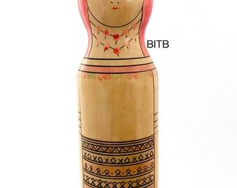 Vodka Bottle Holder, Liquor Bottle Container, Vintage Wooden Souvenir, Spirit Box, Wine Bottle Storage. USSR Russian Mordva Nesting Dolls.