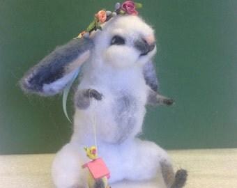 Needle Felted Bunny, Easter Bunny, Spring Decor, Fiber Artist Collectible