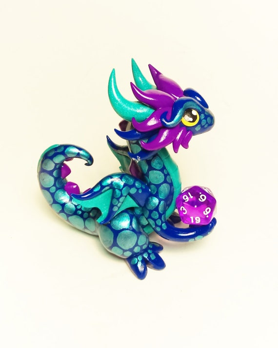 Polymer Clay Dragon Dice Holder- Cobalt Blue, Teal Pearl, and Fuchsia Dragonling: Trinket