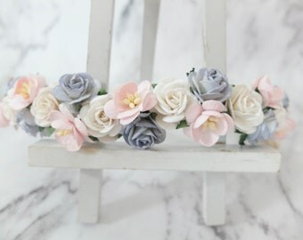 Dusty blue, light pink and white flower crown - floral hair wreath - headpiece - hair accessories - flower girls