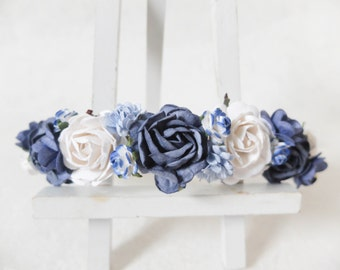 Navy blue and white flower crown - flower headpiece - flower hair wreath