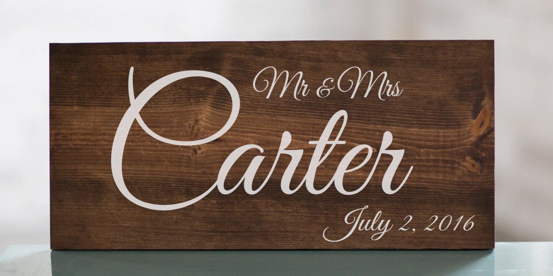 Wedding Gift Signs: Last Name Wedding Sign Wedding Gift Wedding Establish Sign