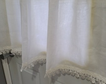 White Kitchen Curtains, Premium Linen Cafe Curtains, Kitchen window curtains,  Lace Cafe Curtains, Handkerchief linen cafe curtains.