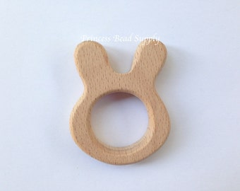 Bunny Natural Wood Teether, Natural Wooden Bunny Teether,  Natural Unfinished Wood Teether, Natural Wooden Teether