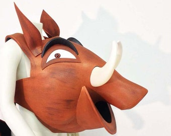 Pumba. Lion King costume mask. Child + Adult. HEAD ONLY. Handmade Pumbaa warthog. Kids age 10 & over + Adults. Costumes masquerade mask.