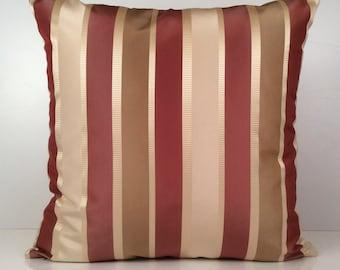 Tan, Light Tan, Pinkish Rust Pillow, Throw Pillow Cover, Decorative Pillow Cover, Cushion Cover, Accent Pillow, Silk Blend, Striped Pillow