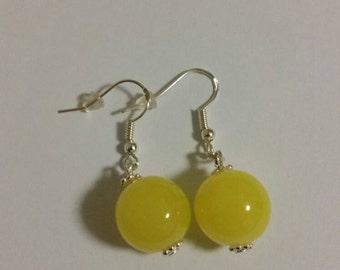 Yellow earrings, dangle earrings,  sterling silver earrings, ball earrings, bead earrings