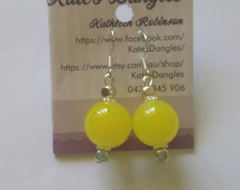 Yellow earrings, silver earrings, yellow and silver earrings,  sterling silver earring hooks,  retro