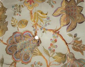 DESIGNER ELSMERE JACOBEAN Silk Damask Fabric 10 Yards Cream Multi