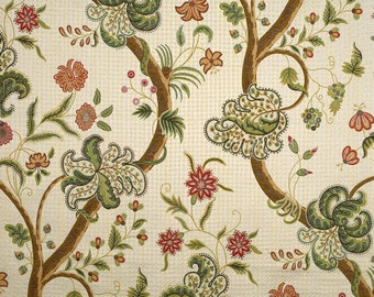 SCALAMANDRE CLARENDON ALLOVER Jacobean Lampas Fabric 10 Yards Green Multi
