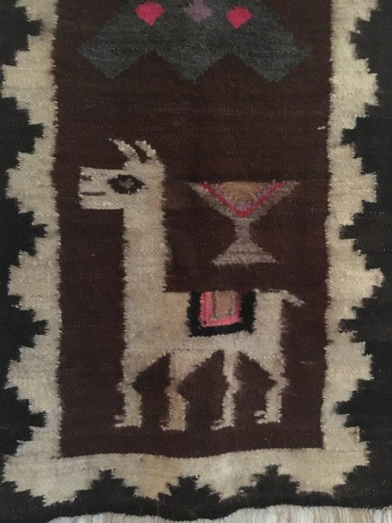 Vintage Alpaca Peruvian Woven Wool Wall Hanging Rug Runner
