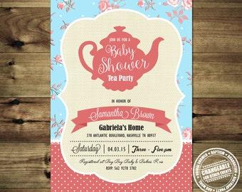 Shabby Chic Baby Shower Invitations - Tea Party Baby Shower Invitation BabShow_inv_021