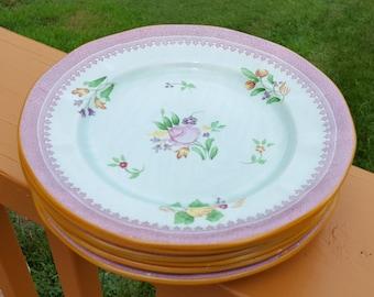 Adams Calyx Ware Salad Plates Set of 6 Vintage Hand Painted Roses