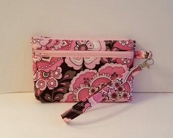 Pink & Brown Floral Wristlet