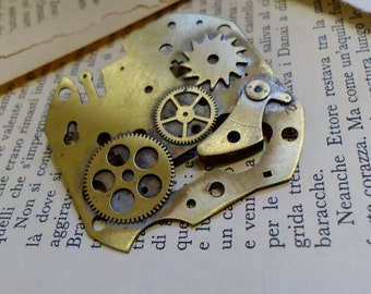 Brooch with Steampunk clock gears
