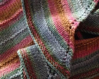 Color Wave Triangular Shawl