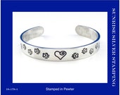Paw Print Cuff Bracelet, Paw Prints and Heart Jewelry, Pewter Cuff Bracelet, Animal Lover Gift, Vet Tech Gift, Veterinarian Jewelry