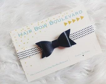 Black Baby Hair Bow- Black and White Baby Headband- Leather Bow Headband- Toddler Headband- Newborn Headband- Baby Hair Bow- Newborn Prop