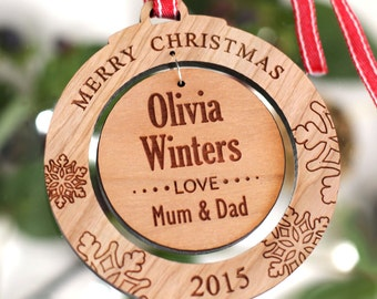 Personalised Merry Christmas Wooden Acrylic Tree Decoration Round Bauble