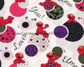 zm015B - 1 Yard SDLP Cotton Woven Fabric - Cartoon Characters, Sesame Workshop Elmo and Purple Ball - White (W140)