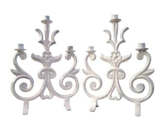 White Wrought Iron Painted Candelabras, Pair