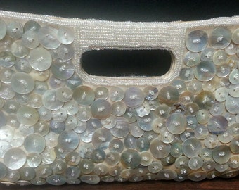 Purse with white Mother of Pearl buttons and beads