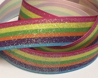 7/8 inch Very Sparkly Pretty Horizontal Stripes (aqua and hot pink border) - Printed Grosgrain Ribbon for Hair Bow