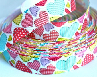 7/8 inch Cute Patterned Hearts  Valentine's Day Love - Printed Grosgrain Ribbon for Hair Bow