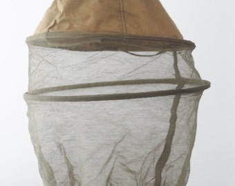 Vintage French Military Mosquito Net Cover for French Helmet 1954