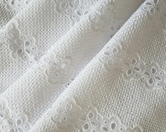 SALE 100% Cotton Designer White Embroidered Eyelet Fabric, 128cm Wide, Sold by the Meter, Perfect for Clothing
