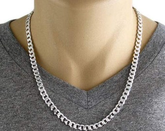 """Men's 925 Sterling Silver Curb Link Chain Necklace - 180 Gauge 7 mm - 22""""/24"""""""