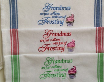 Grandmas Striped Towel with Cupcake Embroidery REDUCED