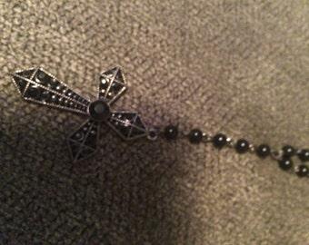 Black Goth Cross Necklace