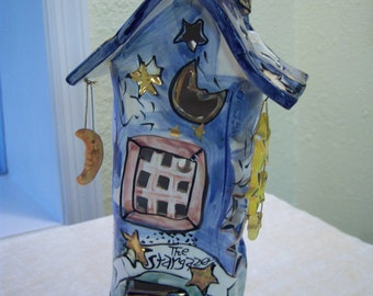 Heather Goldminc ceramic house/The Stargazer/Whimsical candle cover/Moon and stars/Eclectic candle cover/Home decor