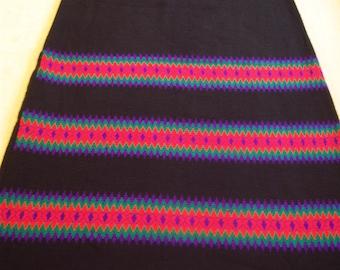 Vintage 1970's long skirt/Acrylic knit long skirt/Size small/Orange,green, purple, black/Made in Hong Kong/Boho skirt/Hippy skirt