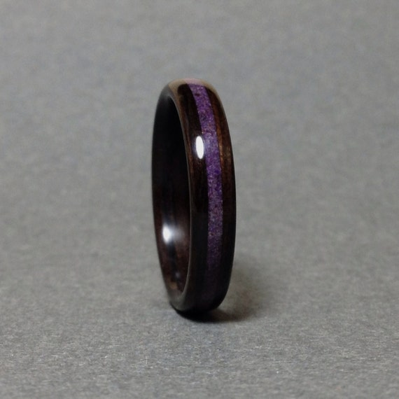 Crushed Amethyst Inlay : Ebony bentwood ring purple sugilite inlay men s wood