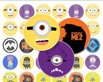 """Minions - 2"""" Cupcake Toppers - Digital Collage Sheet Printables Instant Download"""