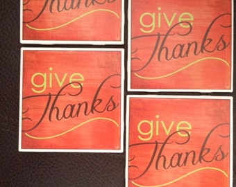 Give Thanks, Thanksgiving Coasters, Fall, Autumn, Drink Coasters